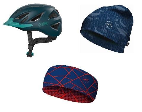 Cykelhjelme, Huer, Pandebånd, Halsedisse