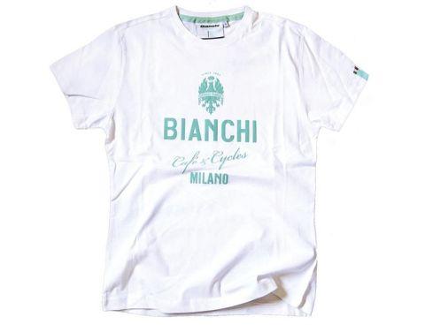 Bianchi T-shirt Cafe & Cycles - Hvid