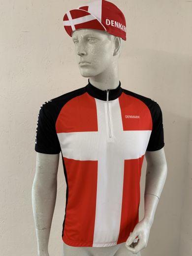 Dannebrog cykeltrøje - Jersey - Rød hvid sort